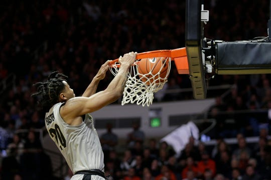 Purdue guard Nojel Eastern (20) dunks during the first half of a NCAA men's basketball game, Tuesday, Jan. 21, 2020 at Mackey Arena in West Lafayette.