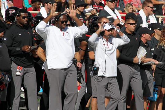 From 2017, new Purdue defensive line coach Terrance Jamison (left) served in the same role at Texas Tech. Jamison was the defensive line coach at Air Force last season. Mandatory Credit: Michael C. Johnson-USA TODAY Sports