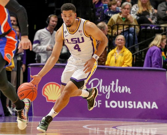 Jan 21, 2020; Baton Rouge, Louisiana, USA; LSU Tigers guard Skylar Mays (4) brings the ball up court against the Florida Gators at Maravich Assembly Center.