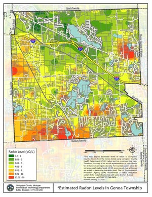 A map shows estimated levels of radon in Genoa Township based on results from homes tested using Livingston County Health Department radon test kits.