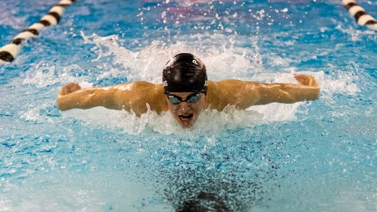Pinckney's Erik Bolang won the 100-yard butterfly against Brighton in 55.78 seconds on Tuesday, Jan. 21, 2020.