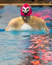 Pinckney's Wes Richards won the 200-yard individual medley and breaststroke against Brighton on Tuesday, Jan. 21, 2020.
