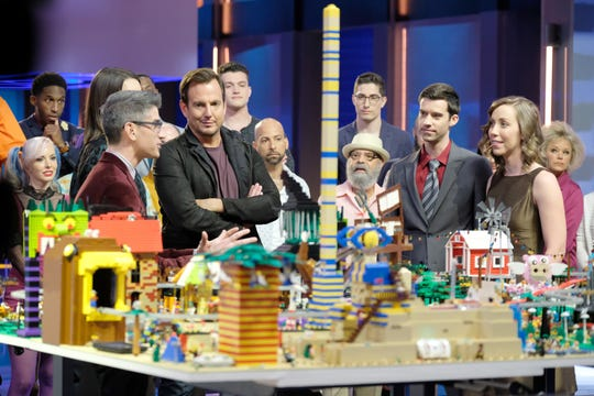 LEGO MASTERS:  Judge Jamie Berard (second from L) and Host Will Arnett (third from L) and contestants in LEGO MASTERS, premiering Wednesday, Feb. 5 (9:00-10:00 PM ET/PT) on FOX.