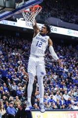 Keion Brooks throws down a dunk against Georgia.