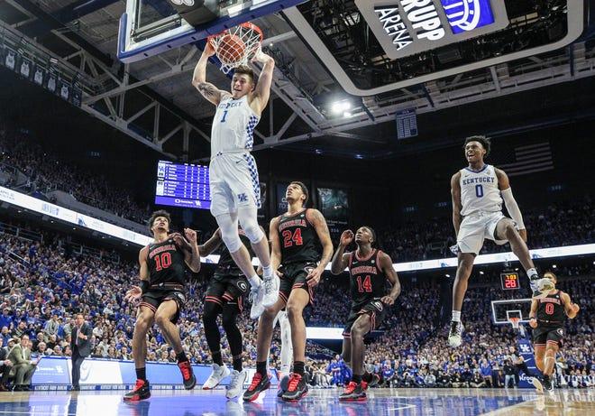 Kentucky's Nate Sestina dunks against Georgia Tuesday night at Rupp Arena in Lexington.