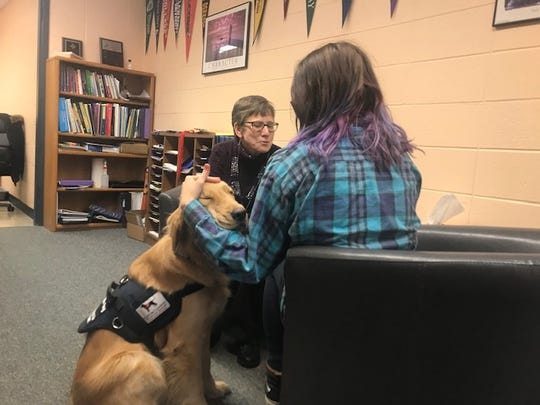 Service dog Benson helps Roncalli students dealing with stress or anxiety.