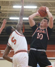 Ashland senior Mitch Heilman helped the Arrows defeat Mansfield Senior for the second time in four days with 22 points in a 56-42 win on the road Tuesday night.
