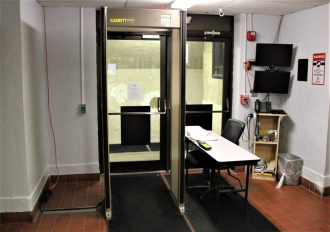 This is the current set-up at the security checkpoint at the ground floor entrance of the Marion County Courthouse. After being awarded a technology and security grant by the Supreme Court of Ohio, the Marion County Court of Common Pleas has purchased an X-ray screening machine that will be used in conjunction with the metal detector. The X-ray machine is expected to be installed in March.