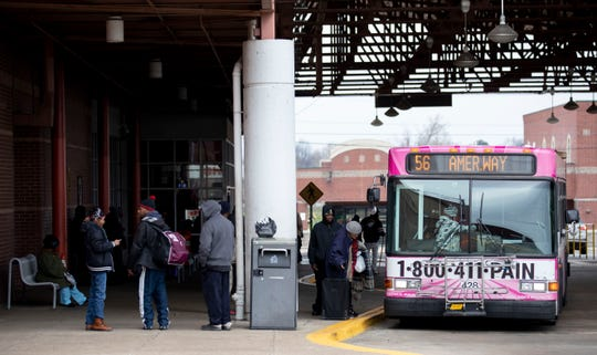 Passengers load on a bus Wednesday, Jan. 22, 2020, at the Memphis Area Transit Authority William Hudson Transit Center in downtown Memphis.