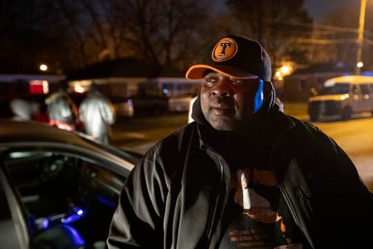 Keith Leachman, founder and president of Stop the Killing, Cut the Beef, talks about violence in the neighborhood after a vigil for Jadon Knox on the 700 block of Pendleton Street in Memphis. Knox was killed nearby over the weekend.