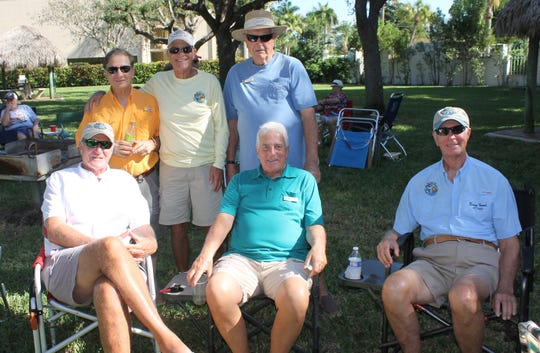 Paul Milici, Joe Perino, Phil Madonia, Bert Hoell,  Charlie Schwaiji and Barry French exchange fish stories.