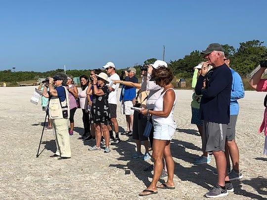 Participants looking across the lagoon at heron and ibis feeding behavior.