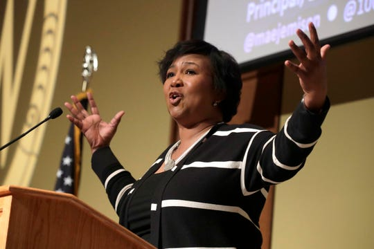 "Mae Jemison, the first woman of color in space, gives a lecture on ""Looking Up"" at UW-Madison's MLK Day observance in Madison, Wisconsin, Tuesday, Jan. 21, 2020."