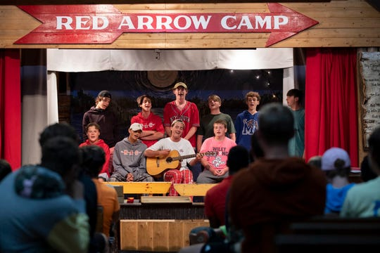 Skits, songs and other performances are a tradition at Red Arrow Camp in Vilas County.