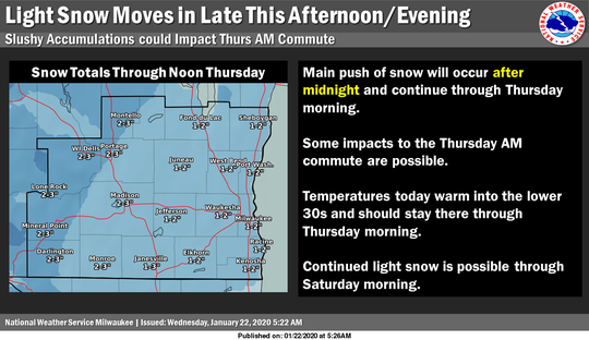 Light snow is expected overnight Wednesday into Thursday.