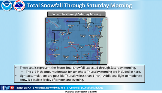 Light snow expected to fall during the next few days could total 3 to 5 inches by the weekend.