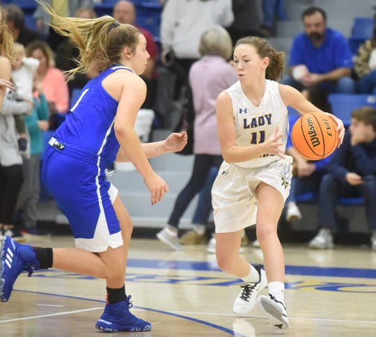 Mountain Home's Emily Payne looks to pass during a recent home game. The Lady Bombers picked up a 43-40 victory at Marion on Tuesday night.
