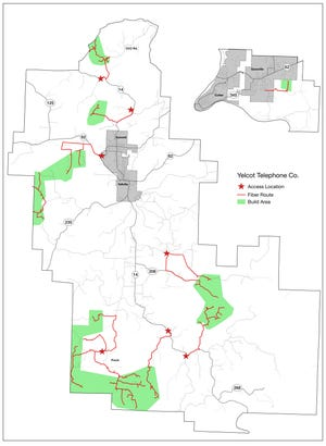 A map depicting locations in Baxter and Marion counties where Yelcot Communications will install fiber optic lines to provide high speed internet.