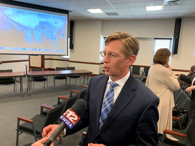 Eric Mackey, the Alabama state schools superintendent, speaks with reporters after a presentation to legislators on Jan. 22, 2020.