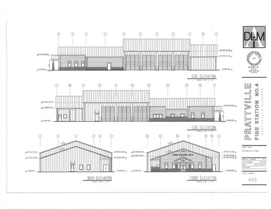 Architectural rendering of the fire station.