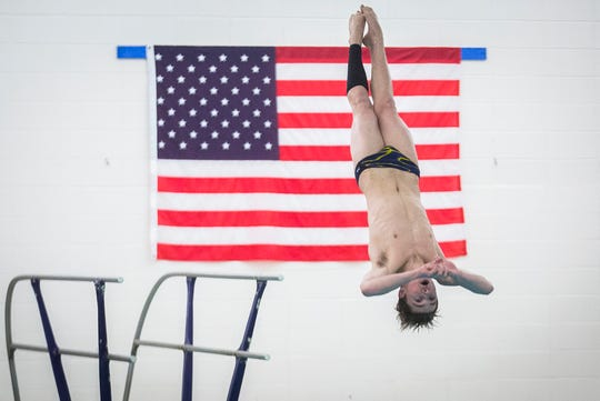Burris faces off against Delta during their swim meet at Delta High School Tuesday, Jan. 21, 2020.