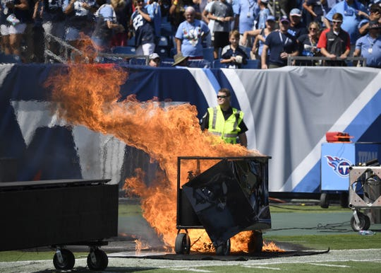 A fire burns on the field before the start of the game against the Indianapolis Colts at Nissan Stadium Sunday, Sept. 15, 2019 in Nashville, Tenn.