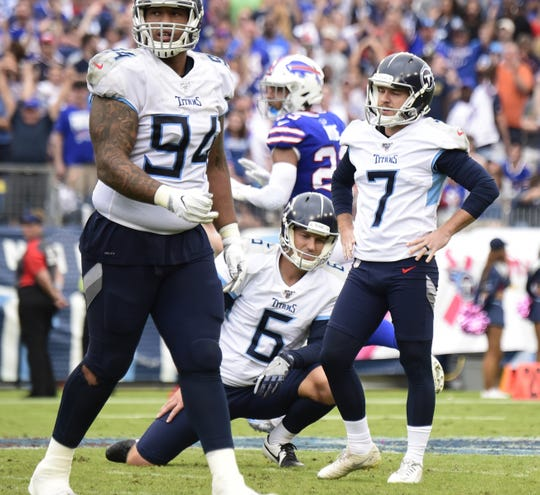 Tennessee Titans kicker Cairo Santos (7) reacts after missing his fourth field game of the game against the Buffalo Bills at Nissan Stadium Sunday, Oct. 6, 2019 in Nashville, Tenn.