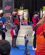 Katie Statton competing in the World Archery Tournament in Nimes, France, January 17-19, 2020.