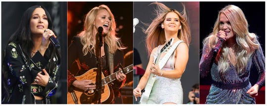 This combination of photos shows country music singers, from left, Kacey Musgraves, Miranda Lambert, Maren Morris and Carrie Underwood. What started as a joke on Twitter about an unwritten rule among country radio stations not to play two female artists in a row prompted outrage by country music stars, but also pledges to give women equal airtime.