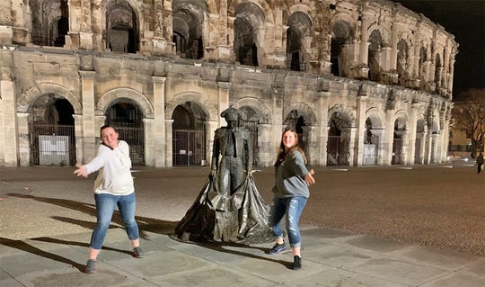 Lexie and Katie Statton were able to do some sightseeing while attending the World Archery Tournament. The Arena of Nimes, France, Roman colosseum.  January 2020.