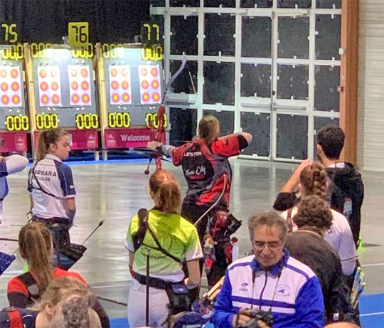 Lexie Statton competing in the World Archery Tournament in Nimes, France, January 17-19, 2020.