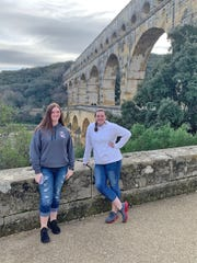 Katie and Lexi Statton at The Pont Du Garde Roman aqueduct in France, Jan. 2020.