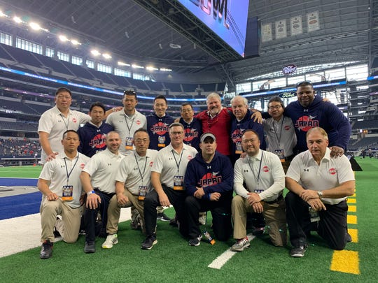 Palmetto Ridge assistant coach PJ Gibbs, bottom row, third from right, guided Team Japan to a 28-20 win over the United States at the International Bowl at AT&T Stadium in Arlington, Texas.