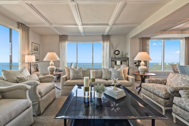 Now priced at $1,645,000 with furnishings, the move-in ready 306 residence at Seaglass includes 3,421 square feet under air plus 1,460 square feet of outdoor terrace space.