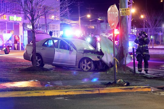 The scene where the driver of a stolen vehicle crashed into a utility pole after a vehicle pursuit started by Haledon Police and ended up on Getty Avenue in Paterson, NJ around 1:20 a.m. on January 22, 2020. Two occupants of the car were injured and transported to the hospital.