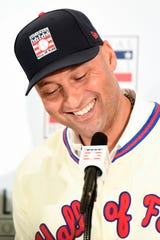 Former New York Yankee Derek Jeter answers questions during the Hall of Fame induction press conference at St. Regis Hotel in New York on Wednesday, Jan. 22, 2020.
