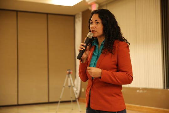 U.S. Rep. Xochitl Torres Small, D-N.M., speaks at a town hall at the Farm and Ranch Heritage Museum in Las Cruces on Jan. 21, 2020.