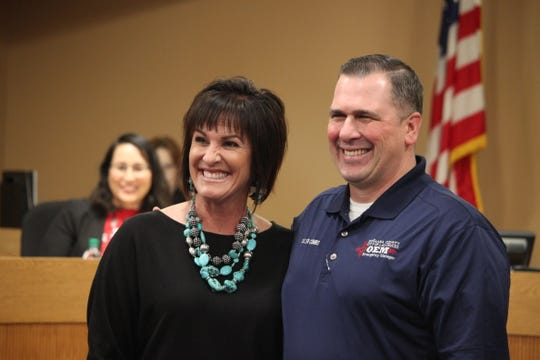 Las Cruces High School principal Michelle Ronga poses with Cullen Combs, emergency manager for the city of Las Cruces and Doña Ana County, during the school board meeting on Tuesday, Jan. 21, 2020. Combs had given a presentation thanking the high school and the school district for assisting with emergency shelter during the 2019 migrant crisis in Las Cruces.