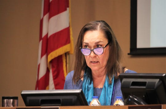 School board president Terrie Dallman speaks during the Las Cruces Board of Education's meeting on Tuesday, Jan. 21, 2020.