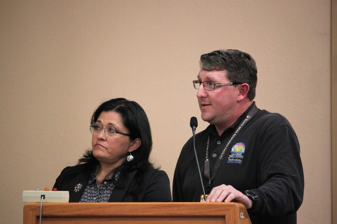 Las Cruces Public Schools interim superintendent Karen Trujillo and the district's information technology director, Matt Dawkins, give the school board an update on cleanup from the October 2019 ransomware attack on Tuesday, Jan. 21, 2020.
