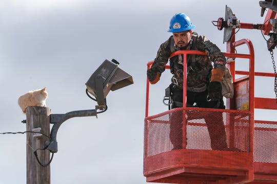 Gabe Ramirez helps rescue s cat stuck up a pole in Las Cruces on Wednesday, Jan. 22, 2020.