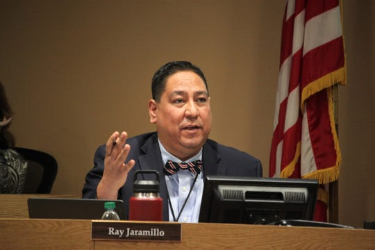 School board member Ray Jaramillo asks a question during a presentation on cyber security at the Las Cruces Board of Education's meeting on Tuesday, Jan. 21, 2020.
