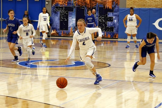 Carlsbad's Alexa Dugan races down the court for a fastbreak layup against Lovington on Jan. 21, 2020. Carlsbad won, 59-36.