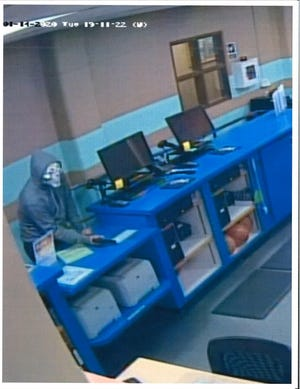 A still photograph of a man in a clown mask who attempted to rob the Alamogordo Family Recreation Center on Jan. 14, 2020. Courtesy photo.