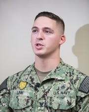 Navy Security Force Master-at-Arms 3rd Class David Link Jr. talks Wednesday about being one of the first responders to the deadly shooting Dec. 6 at NAS Pensacola.