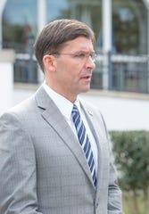U.S. Secretary of Defense Mark Esper speaks Wednesday during his visit to NAS Pensacola.