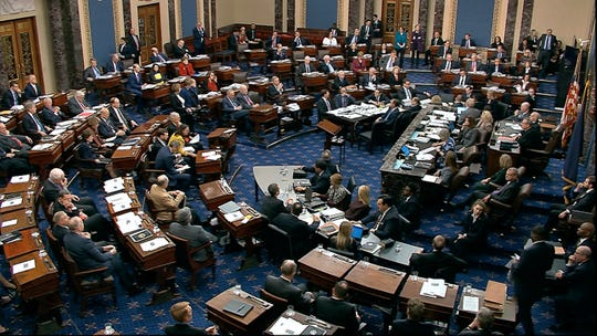 In this image from video, Senators vote on approving the rules for the impeachment trial against President Donald Trump in the Senate at the U.S. Capitol in Washington, Wednesday, Jan. 22, 2020.