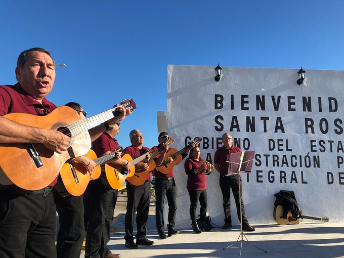 Musicians welcome those aboard the first cruise from Puerto Penasco to Santa Rosalia. It was the first time in ten years the seaside town has welcomed a cruise ship.