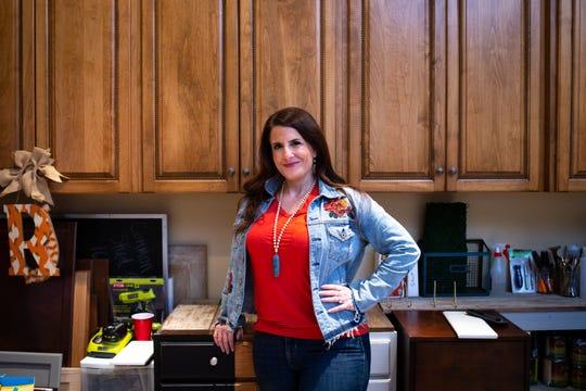 A portrait of Rachel Elise Trimble, Jan. 13, 2020, owner of Restyle Junkie, in her home studio, Glendale, Arizona.