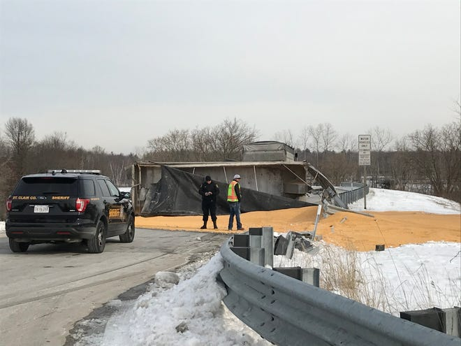 A corn hauler rolled over on an Interstate 69 on ramp in Kimball Township Wednesday.